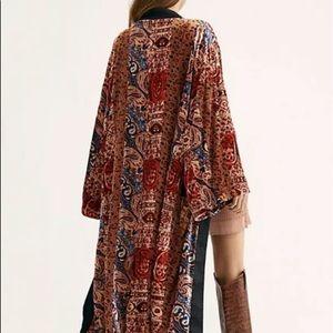 Free People Kimono Velvet Red Black Wine Blue